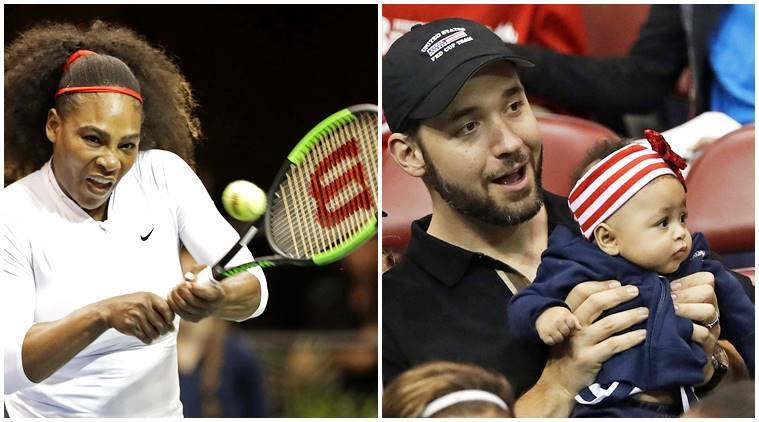 serena williams, alexis ohanian, alexis olympia, baby olympia ohanian, serena williams venus williams match, serena williams baby husband cheering for her, indian express, indian express news