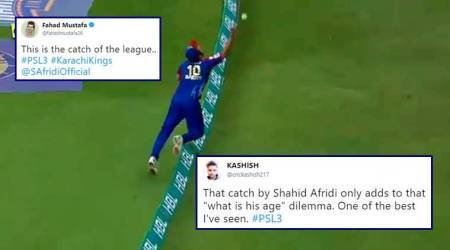 Shahid Afridi's sensational one-handed catch adds to the 'what's his age' dilemma on Twitter