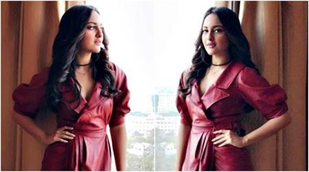 Sonakshi Sinha's bright, preppy dress is perfect for a weekend party; see pics