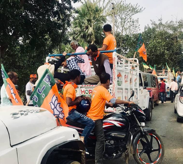 BJP and IPFT supporters on their way to PM Modi's rally in Sonamura Tripura