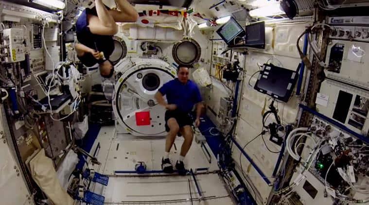 ISS NASA badminton game, astronauts badminton space game, NASA astronauts playing badminton in space, Indian express, Indian express news,