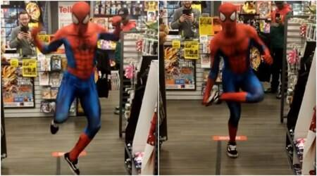 VIDEO: Spider-Man leaves customers bewildered with his dance moves on 'Take On Me'