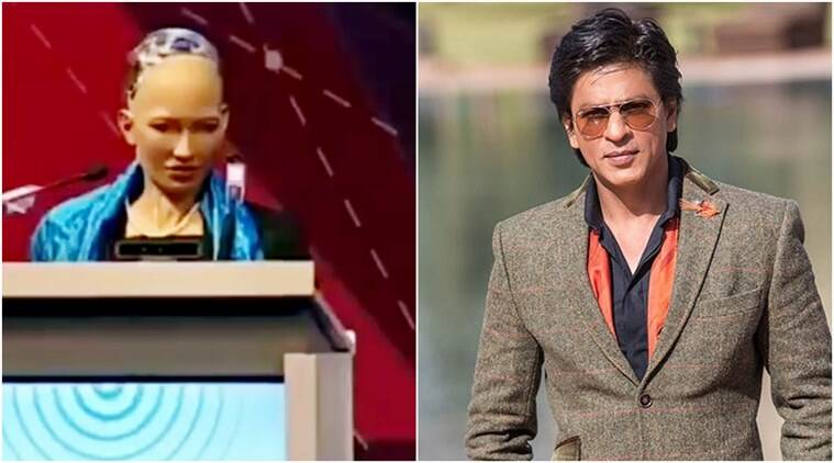 Shah Rukh Khan, Srk responds to first robot, first robot Sophia, Sophia favourite Bollywood actor, SRK Sophia favourite Bollywood actor, robot videos, Indian express, Indian express news