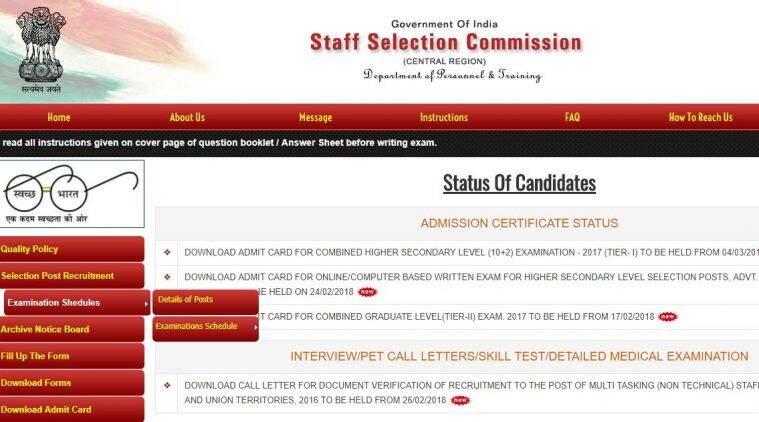 SSC CHSL 2018: Admit card released for eastern, central