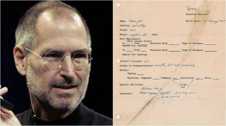 Steve Jobs' job application shows a normal guy, pre-Apple