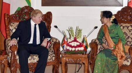 Rohingya crisis, Aung San Suu Kyi, Boris Johnson, Myanmar, British Foreign Secretary, world news, Indian Express news