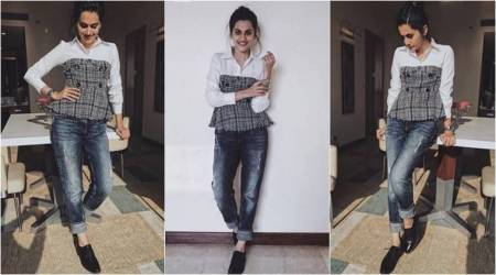 Taapsee Pannu has a quirky take on the classic white and blue jeans combo, but it isn't spectacular