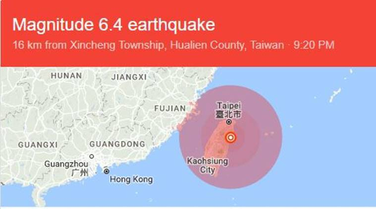 Taiwan earthquake The effects of the earthquake measuring 6.4 in magnitude were felt in as far as the country's capital Taipei