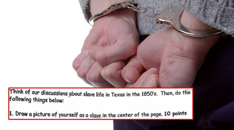 texas school slave question, texas school, texas school om slavery question viral, texas school students asked to think of themselves as slaves, texas school viral question on slavery, Indian express, Indian express news