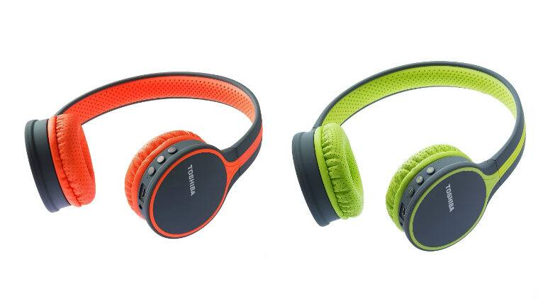 Toshiba audio devices, in-ear-headphones, Toshiba BT180H Bluetooth headphones, out-of-ear headphones, Toshiba SBX210 portable sound system, Bluetooth sound bars, Toshiba audio products availability