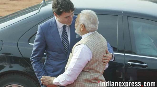Finally, Justin Trudeau gets the Modi hug