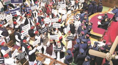 Opening day of budget session: Opposition heckles Governor Ram Naik with paper balls, balloons
