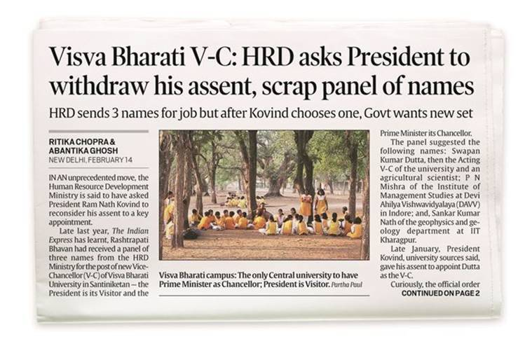 Visva Bharati V-C: Govt asked President Ram Nath Kovind to withdraw assent after he ignored its name