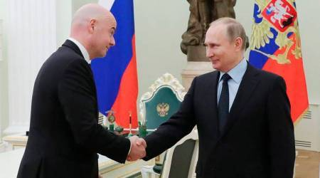 Vladimir Putin meets FIFA president Gianni Infantino to discuss World Cup