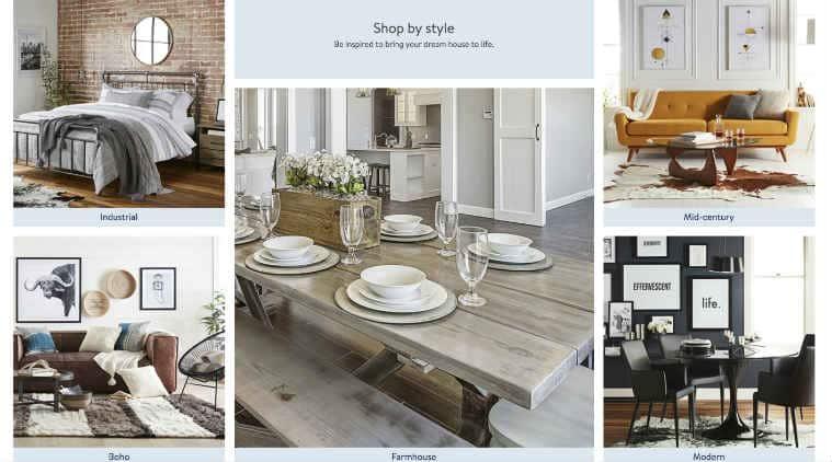 Walmart online home shopping portal, e-commerce market, home furnishings, Amazon online business, Wayfair, retail stores, Target, fashion, home decor