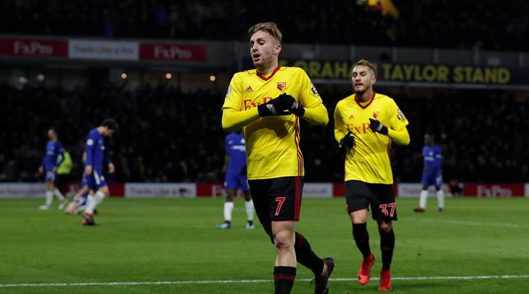 Watford's Gerard Deulofeu celebrates scoring their third goal against Chelsea