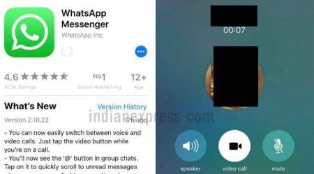 WhatsApp on iOS gets option to switch between voice, video calls and new mentions button
