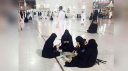 Photo of four women in hijab playing board games at Khana-e-Kaaba has gone viral