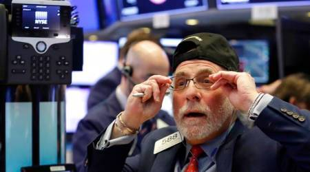 The Dow Jones Industrial Average was off 1.23 percent at 24,639.94 and fell below its 100-day moving average.