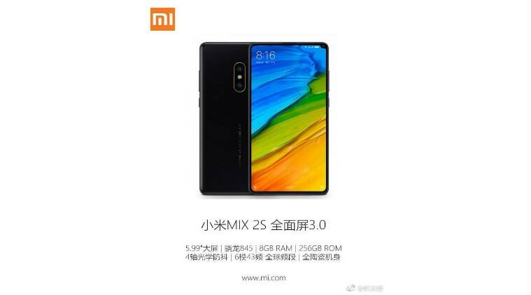 Supposed Official Renders & Specs of Xiaomi Mi Mix 2s Leaked