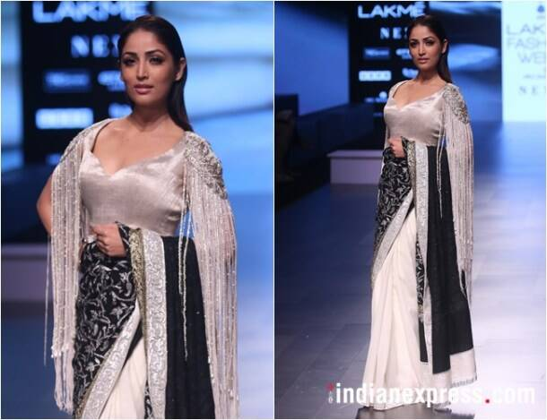 yami gautam, manish malhotra, lakme fashion week, lfw 2018, karan johar, sonakshi sinha, kriti sanon, Kalki Koechlin, lfw 2018 day 3 highlights, lakme fashion week bollywood stars, fashion news, indian express
