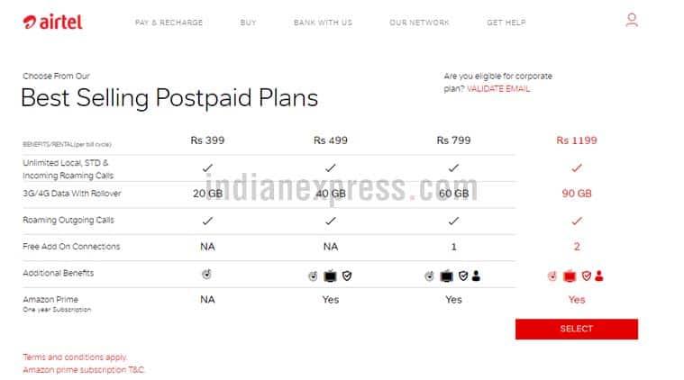 Airtel, Airtel Rs 499 plan, Airtel postpaid plan, Airtel postpaid data, Airtel vs Vodafone vs Jio, Jio postpaid, Jio offer, Airtel postpaid plans