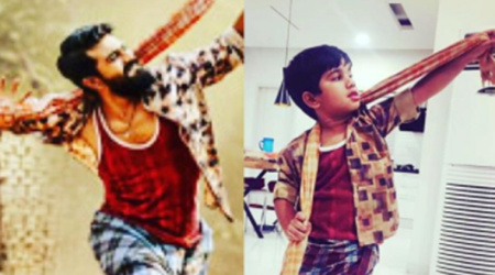 Allu Arjun and son mimic Ram Charan from Rangasthalam