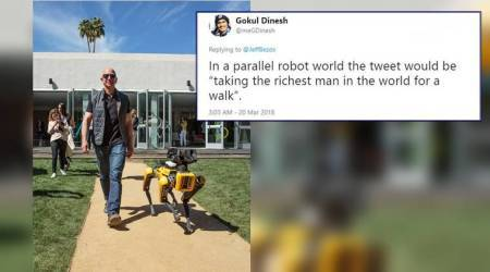 Amazon founder Jeff Bezos, Amazon founder Jeff Bezos picture with dog like robot