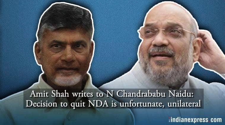 amit shah, chandrababu naidu, tdp, bjp president, amit shah letter, nda alliance, andhra, indian express