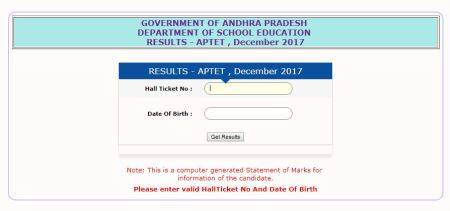 APTET results 2018 declared at aptet.apcfss.in