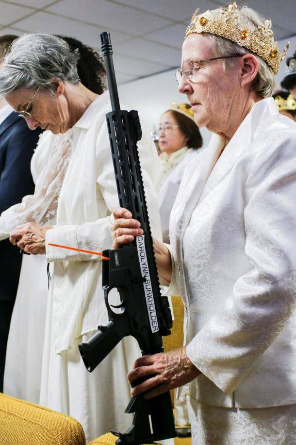 gun photos, gun church pictures, ar 15 rifle images, gun wedding, florida, us school shooting, bullet crown, Pennsylvania gun church, rifle blessing ceremony images, gun control, american guns, indian express