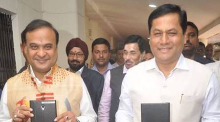 Assam Chief Minister Sarbananda Sonowal with Finance Minister Himanta Biswa Sarma. (Photo: Twitter/@himantabiswa)