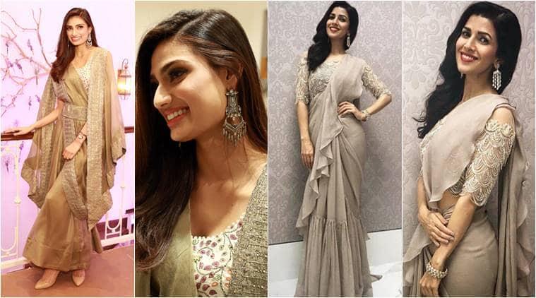 Athiya Shetty, Athiya Shetty latest photos, Athiya Shetty fashion, Athiya Shetty ethnic fashion, Athiya Shetty sari, Athiya Shetty cape sari, Nimrat Kaur, Nimrat Kaur latest photos, Nimrat Kaur fashion, Nimrat Kaur sari, indian express, indian express news