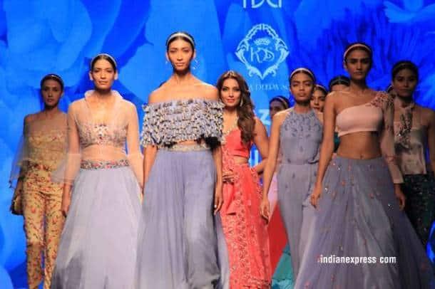 Amazon Fashion Week, Bipasha Basu, Amazon Fashion Week Karishma Sondhi, Karishma Sondhi latest designs, Karishma Sondhi Autumn winter collection, indian express, indian express news