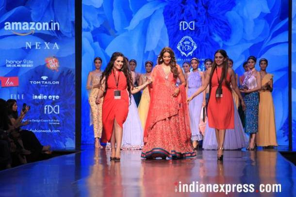 Amazon Fashion Week, Bipasha Basu, Amazon Fashion Week Karishma Sondhi, Karishma Sondhi latest designs, Karishma Sondhi Autumn winter collection, indian express, indian express news