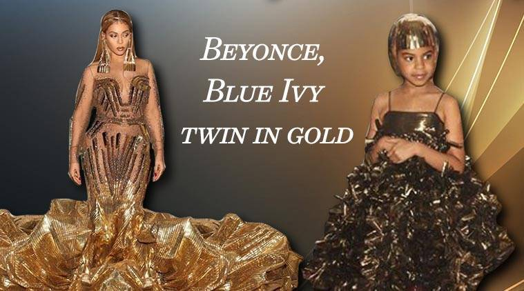 Beyonce channels a warrior princess look in her gold Falguni and ...