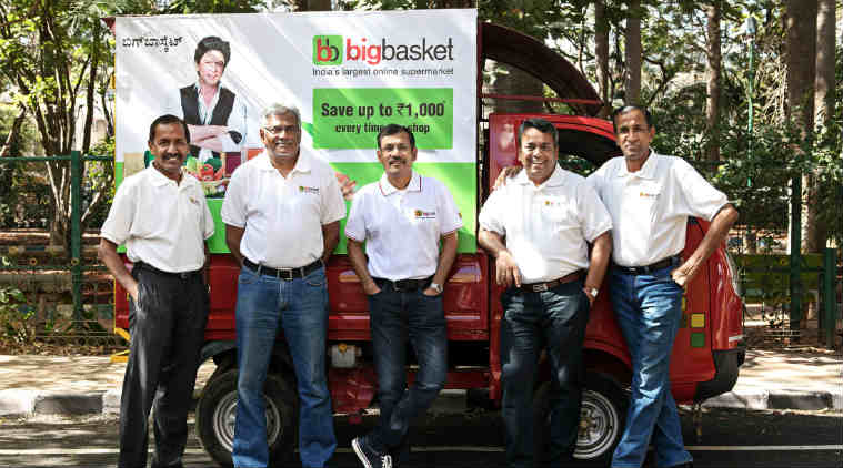 Bigbasket market value, Indian e-grocery options, Bigbasket Alibaba investment, dotcom revolution, Amazon, Bigbasket founders, Flipkart, Indian retail stores, large-format supermarket