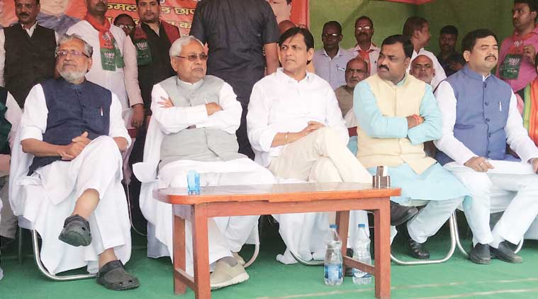 Bihar Chief Minister Nitish Kumar and Deputy CM Sushil Modi at a public meeting in Araria Wednesday