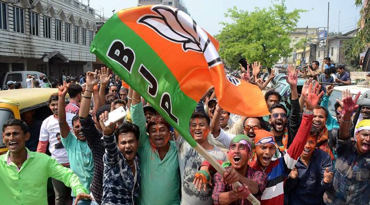 BJP supporters celebrate victory in Tripura