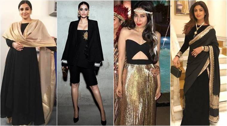 latest fashionable colours, latest trending colours, Sonam Kapoor latest photos, Sonam Kapoor black and gold, Shilpa Shetty Latest photos, Shilpa Shetty black and gold sari, Karisma Kapoor latest photos, Vidya Balan Vidya Balan fashion, Vidya Balan black and gold combo, Vidya Balan Vikram Phadnis, indian express, indian express news