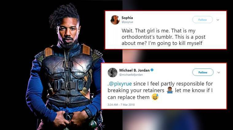 black panther villain michael b jordan offers fan new retainer after she broke hers seeing him