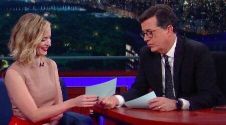 American TV show host Stephen Colbert jokes Emily Blunt might be a sociopath
