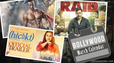 Upcoming Bollywood films in March: Raid, Baaghi 2, Hichki and more