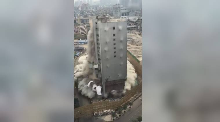 building crashing in china, china building falls, video of building crashing, viral video of building crashing in china, viral video, indian express, indian express news