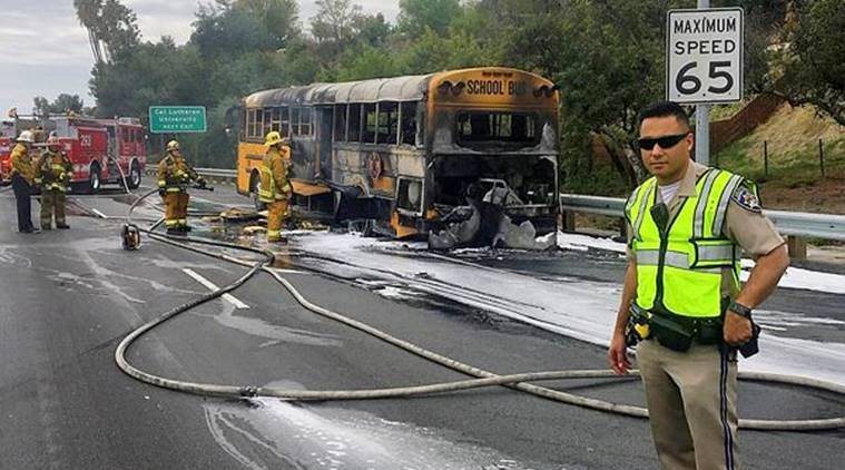 school bus catches fire, los angeles, us school bus catches fire, us school bus fire, los angeles bus fire, us news