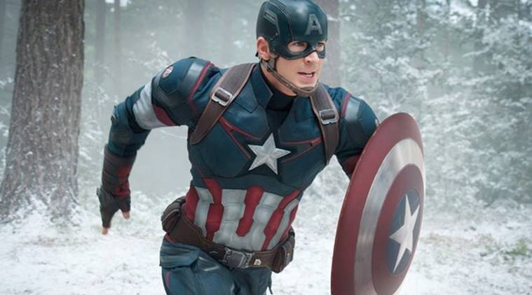 Chris Evans as Captain America in Marvel photos