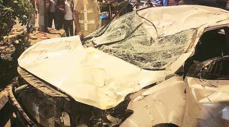 Two dead as student loses control of car, rams divider; driver held, was inebriated