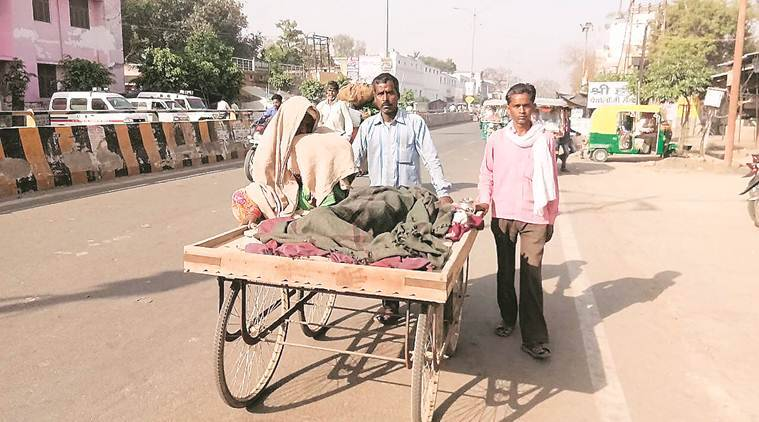 No ambulance, hearse, UP man carries wife's body on handcart