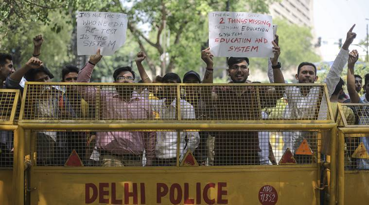 Angry over CBSE re-test, students hold protests