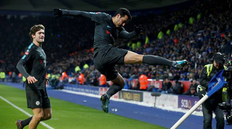 Pedro celebrates the goal against Leicester City